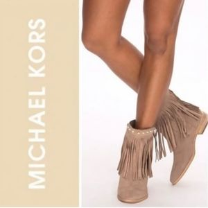 Michael Kors suede leather Billy fringe booties